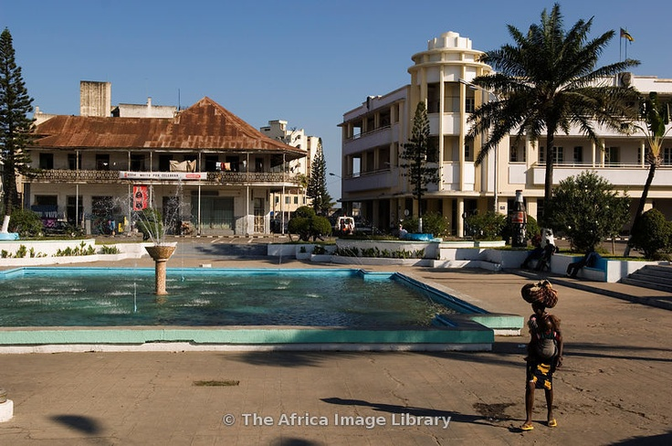 Mozambique, Beira, Municipal Square is ringed by old colonial buildings. 2005