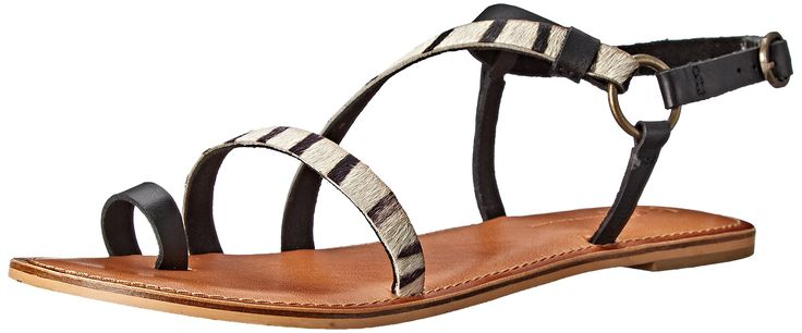 BC Footwear Women's Mother Lode Toe Ring Sandal, Black/Spotted Pony Hair, 8.5 M US. Toe-ring sandal featuring contrasting straps at vamp. Buckle closure at adjustable ankle strap.