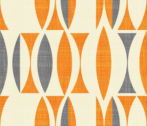 field in orange gray fabric by chicca_besso on Spoonflower - custom fabric
