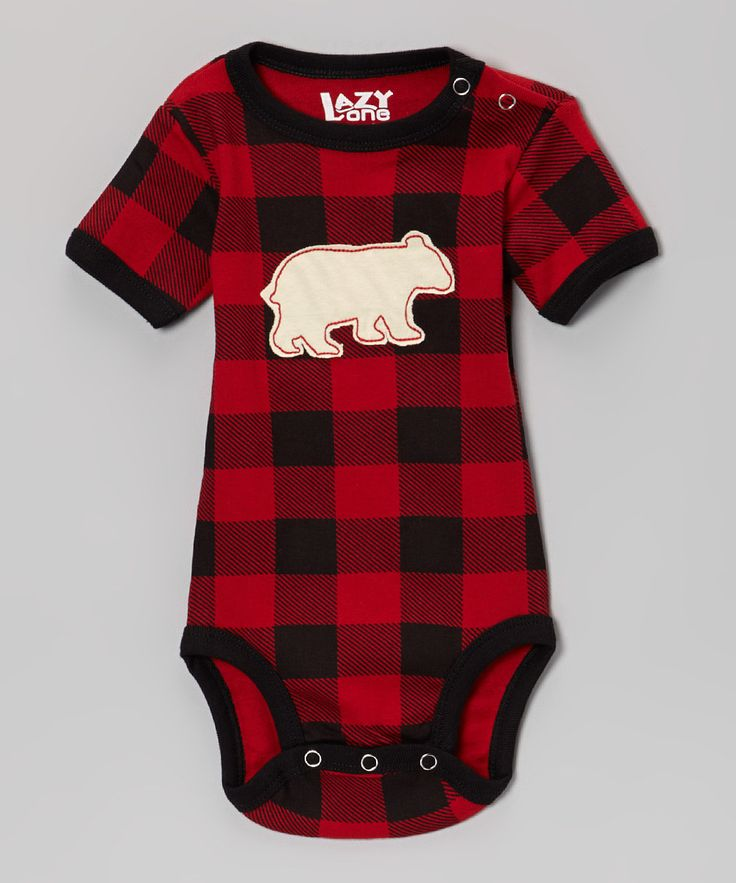 Red & Black Gingham Bear Onesie.