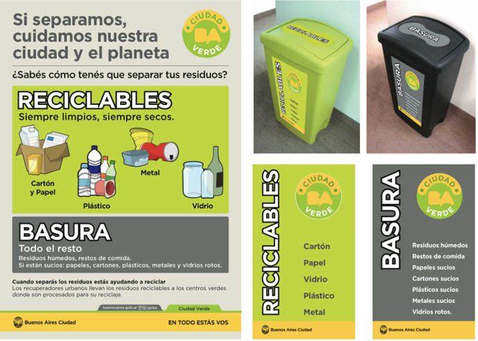 reciclables y basura. Separacion de residuos