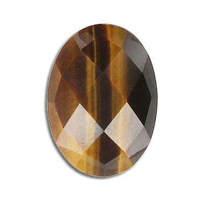 Cabochon semi-precious, faceted, 25x18mm, tiger's eye