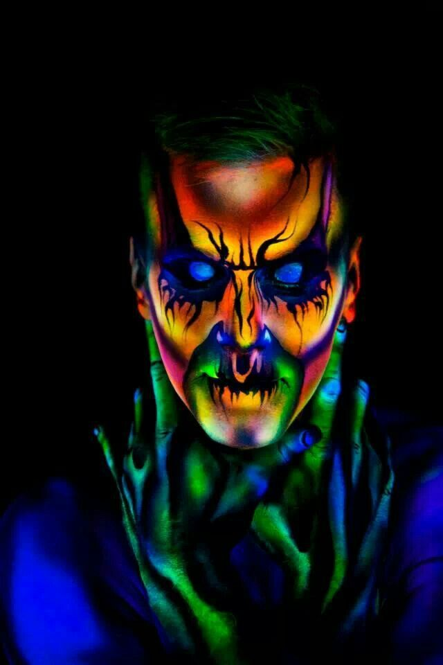 Neon Face paint and body art | Neon Body Art | Pinterest