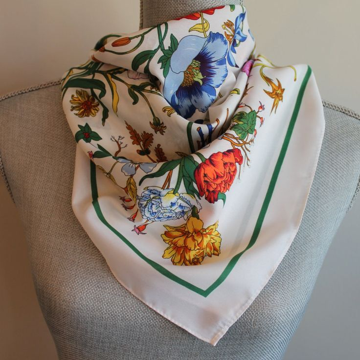Vintage Printed Floral Scarf Bandana Lilies Tulips Butterflies by FunkieFrocks on Etsy
