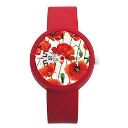 O clock Digital watch - Flowers Red with Red Strap
