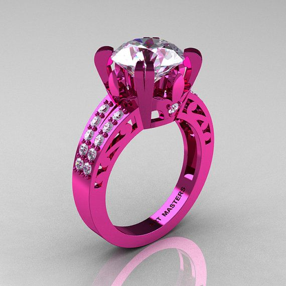 A bright PINK ring... Too bad that's not a diamond.