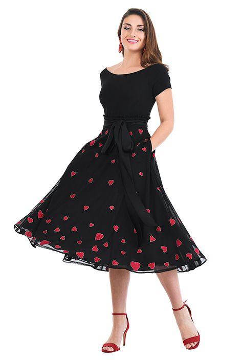 I  3 this Heart embellished mixed media dress from eShakti  101b7d9289a3