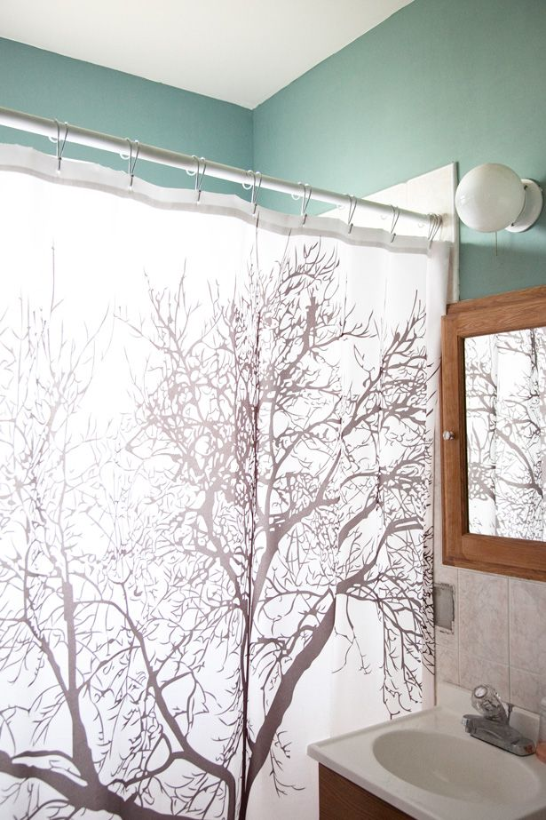 Tree Shower Curtain Ivory Walls Vanity Dark Mint Towels And Organization