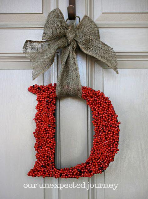 Red Berry Monogram Wreath + 35 DIY Inspiring Unique Christmas Wreaths  #christmas #wreath