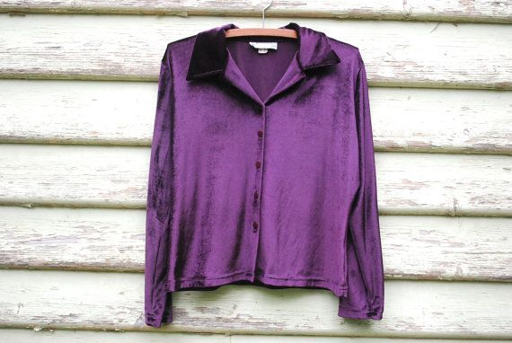 90s Vintage Dark Purple Velvet Shirt Long Sleeve Grunge Top Button Up Blouse Vtg 1990s Size S-M