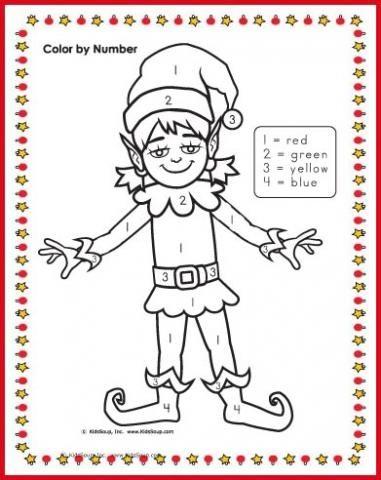 elf girl colornumbers 14 worksheet  kidssoup