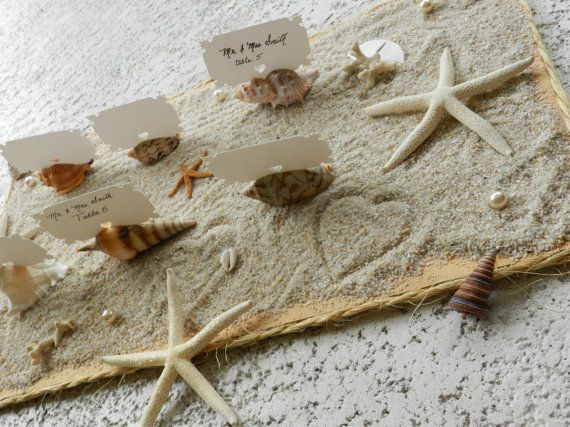 Perfect for a seaside wedding   Seashell Place Card Escort Card Holders to Compliment by ChiKaPea, $12.00