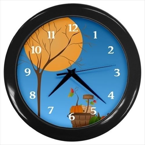 Full moon over pumpkins Autumn wall clock