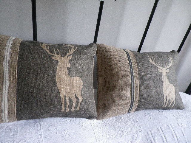 hand printed charcoal deer and stag cushion set