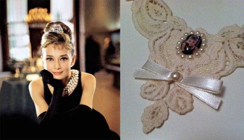 """Audrey Hepburn""- Tiffany's Krem Dantel Yaka | Hepsi Ev Yapımı"