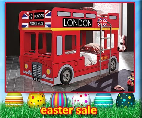 London Bus Bunk Bed Features a standard single size bunk bed which is close to the ground for little ones! Use the top for storage if needed and bottom bunk to sleep! Very Cool!