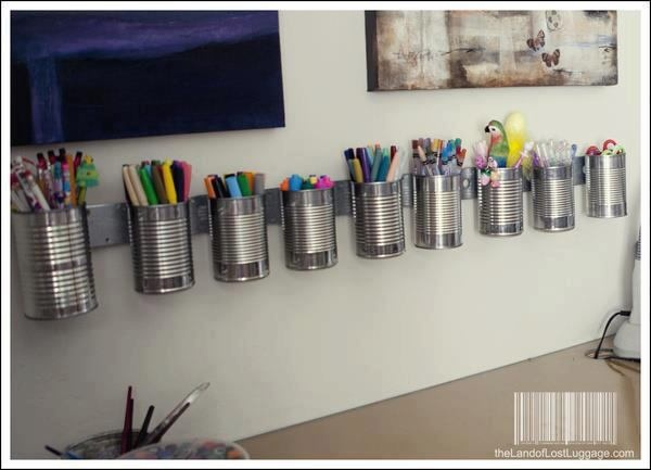 magnetic wall strips and metal cans for storage