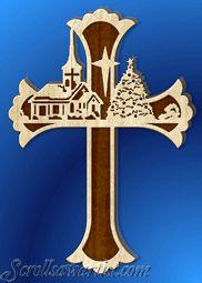 Christmas Scroll Saw Patterns   Church at Christmas cross