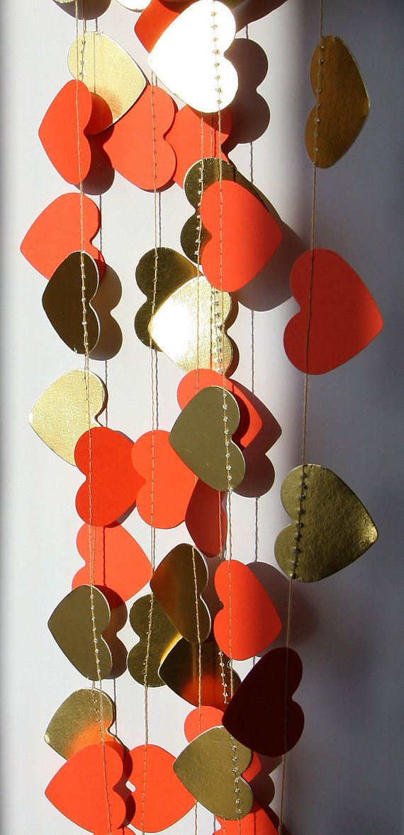 Gold & coral orange heart garland Wedding by TransparentEsDecor