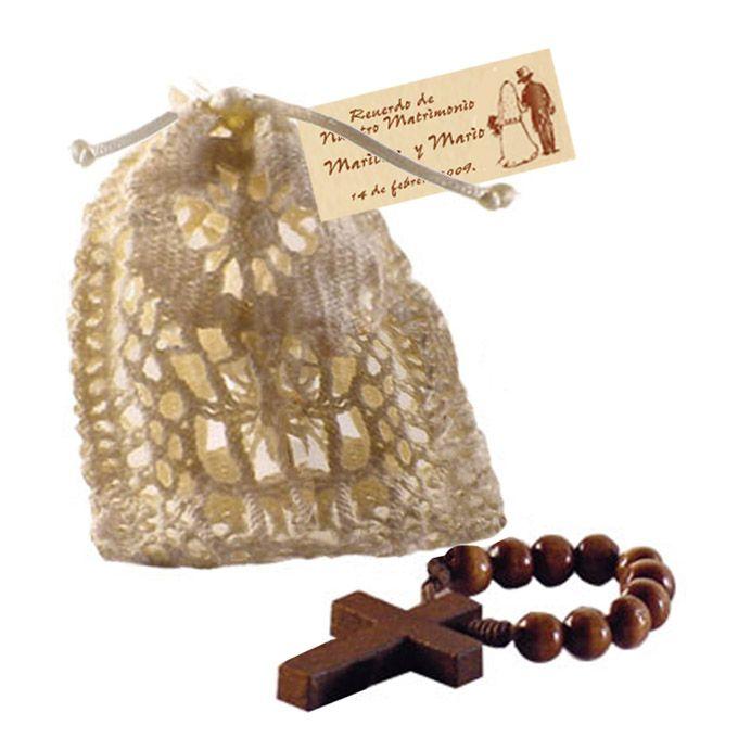 Saco crochet con denario de madera de matrimonio