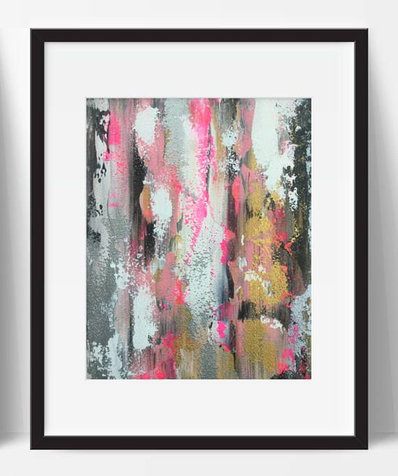 Title Pink Minx abstract.  Free fast shipping worldwide with tracking!  One high quality 8x10 original art pieces on canvas panel. Beautiful fluorescent pink, light magenta, black, white, metallic gold & metallic silver textured abstract painting. Gorgeous sandy texture - utterly unique and gleaming. Frame not included. Photos may not be exactly to scale. Canvas panels are 3mm thick.  We only use finest artist quality paint with the highest pigment opacity and lightfastness ratings. This ...