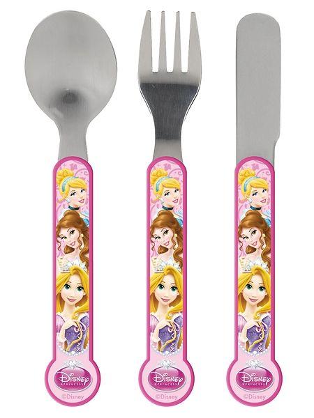 Suloiset aterimet sopivat pienen prinsessan käteen. Sisältää lusikan, haarukan ja veitsen. Aterimet kestävät konepesun. Ei mikroaaltouuniin. 5+