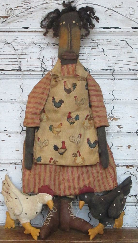 Made to OrderPrimitive Grungy Folk ArtHenpecked Lady