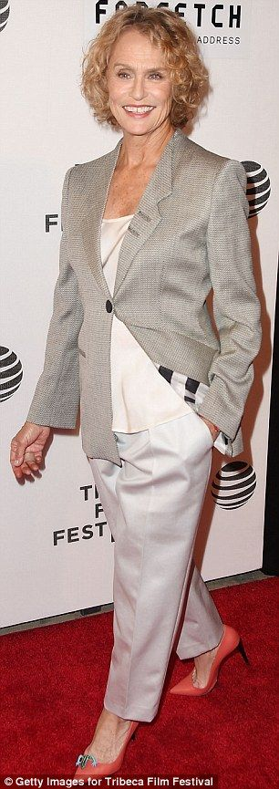 Making the heart grow Fonda: Jane looked great for her age in a white ensemble whileLaure...