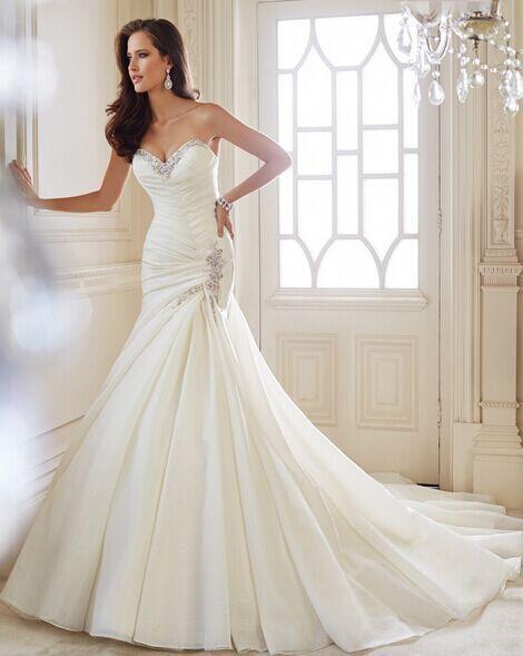 2015 Sweetheart Axelbandslös Crystal Criss-Cross plisserad organza Mermaid bröllopsklänningar brudklänning