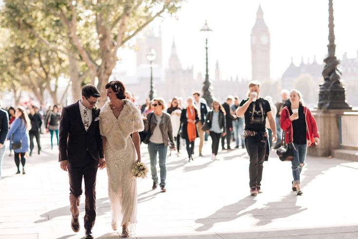 Bride and Groom from a 1930s inspired London wedding. Images by Becky Lee Photography