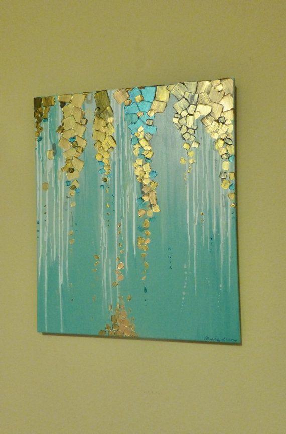 Pintura metalizada escurre por este lienzo ~ la calidad visual de las pinturas metálicas en esta textura pintura es impresionante y brilla en la luz! ~ Tamaño: 18 x 24 x 1,5 pulgadas ~ Colores: Cercetas, aquas, blancos, oro metálico, cobre metálico, bronce metálico y metálico azul. ~ Pintura está firmada en cualquier frente o la parte posterior del lienzo. ~ Lados de lienzo están pintadas por lo que su nueva pintura está listo para colgar. ~ Este artículo es 100% a mano pintados y hechos a…