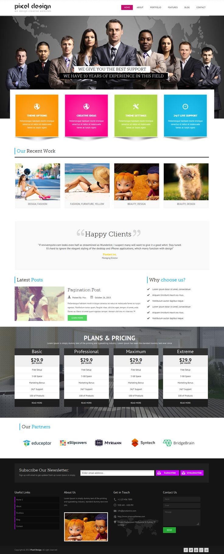 Pixel Design is a colorful multipurpose responsive wordpress theme. Pixel Design is so clean, super flexible and has a fully responsive design! Built with HTML5 & CSS3, a lot of thought and care went into this theme making it a pleasure to use. The clean design can be used for any type of website; business, corporate, portfolio, blog, products, etc.
