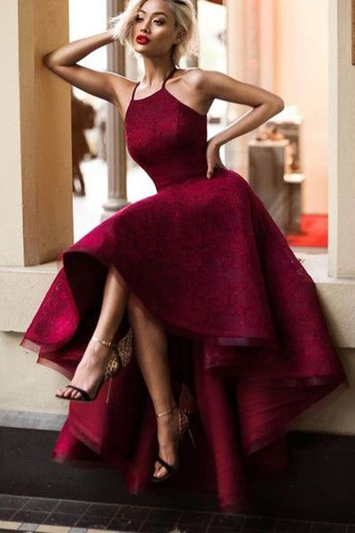 Crimson tulle lace long prom dresses ,evening dress with straps