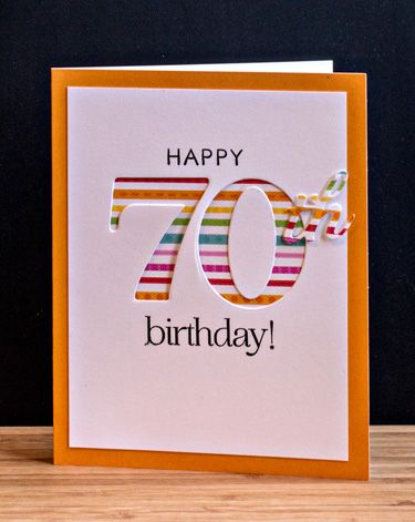 handmade birthday card ... luv the huge negative space 70 backed iwth striped paper ... clean and simple design ... fun colors ... luv it!