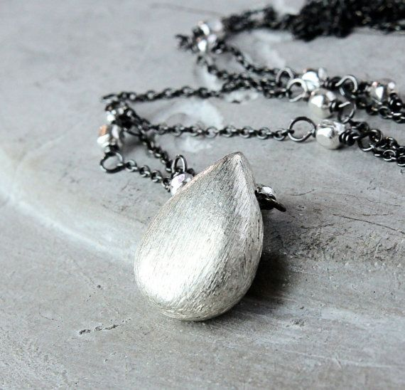 Silver Drop Necklace  Oxidized Silver  Mixed Metal by Hildes