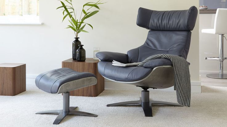 Modern Leather Recliner and Footstool | UK Delivery