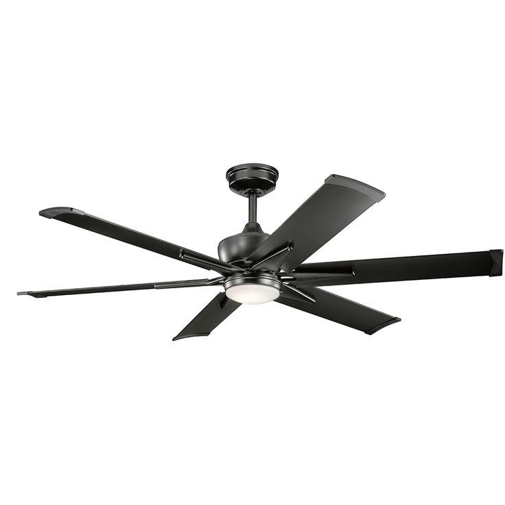 For PATIO-Kichler Szeplo Patio Satin Black 60 Inch Wet Location LED Ceiling Fan On SALE