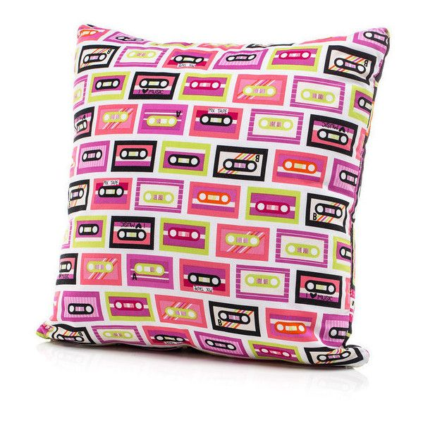 Throw Pillow Accent Pillow Twin Pillow Bed Pillow Girl Pillow Cassette... ($25) ❤ liked on Polyvore featuring home, home decor, throw pillows, bed pillows, bedding, home & living and silver