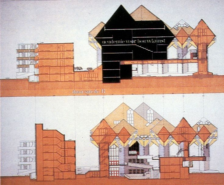 AD Classics: Kubuswoningen,Section through the Academy of Architecture