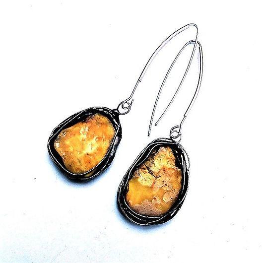 Amber framed in metal. Earrings uniques again // Bursztyn oprawiony w metal. Kolczykowe unikaty raz jeszcze