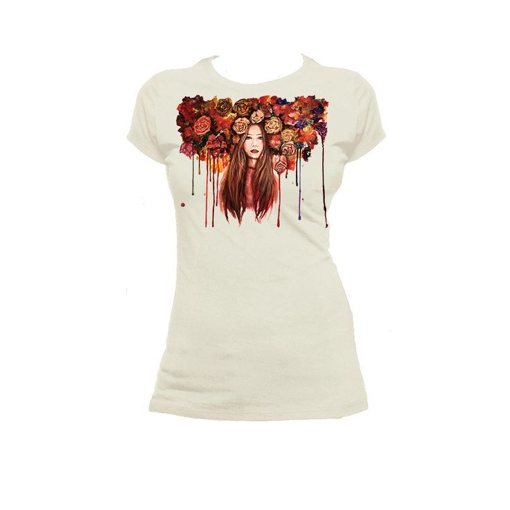 Roses Are Red - T Shirt  Woman's T shirt super soft boyfriend tee. 100% cotton and jersey. The design on the shirt was hand-painted with acrylic and then printed direclty on fabric.   You can choose the T shirt in six different colors.