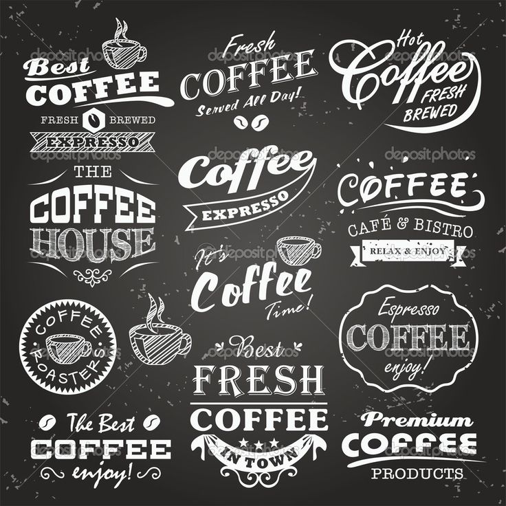 Collection of coffee shop sketches, labels and typography design on a chalkboard background - Stock Illustration: 26670379