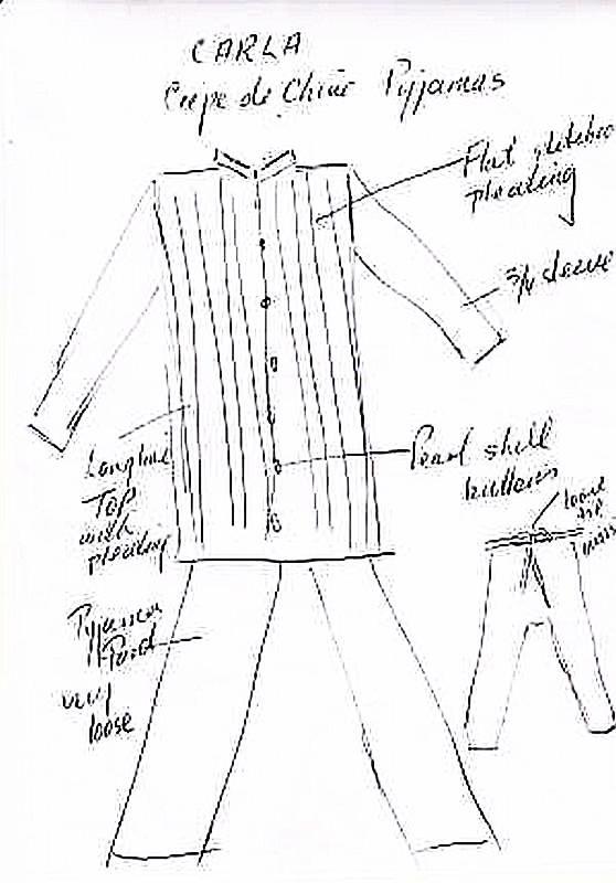 Louise's drawing of Carla silk pajamas