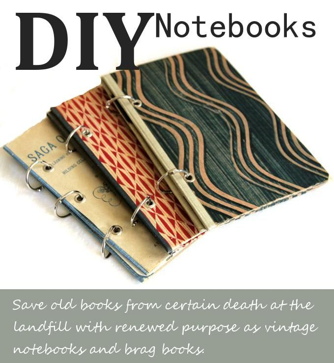 DIY vintage notebooks or photo brag books made from recycled Swedish books