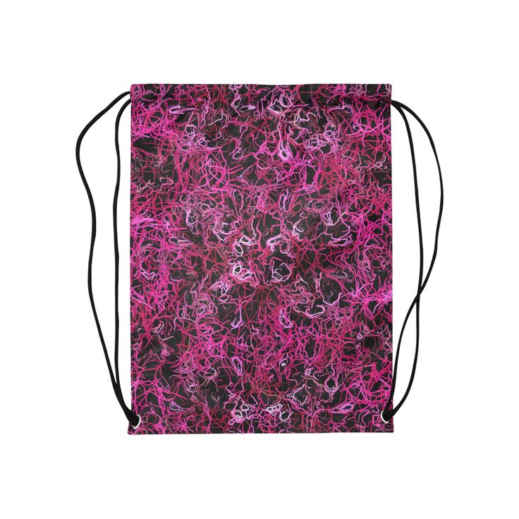 "Hot Pink and Black Electric Lines 5078 Medium Drawstring Bag Model 1604 (Twin Sides) 13.8""(W) * 18.1""(H).A beautiful hot pink cabbage rose photo transformed into a stunning hot pink and black digitally designed drawstring bag. By celeste@khoncepts.com #hotpinkandblack"