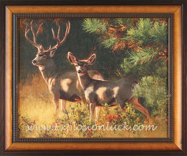 Inspirational Feng Shui framed giclée canvas painting Oak Brush Muleys will brighten your home decor and office decor and lift your spirit.