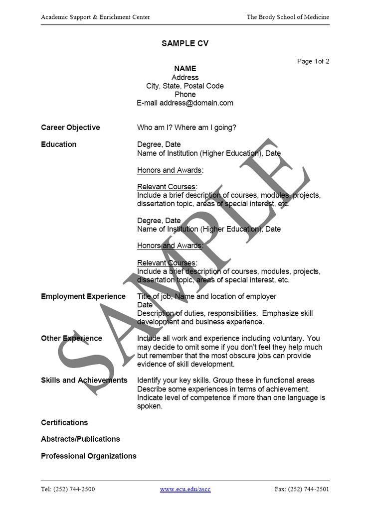 How to Write a CV Career Development Pinterest – Curriculum Vitae Format