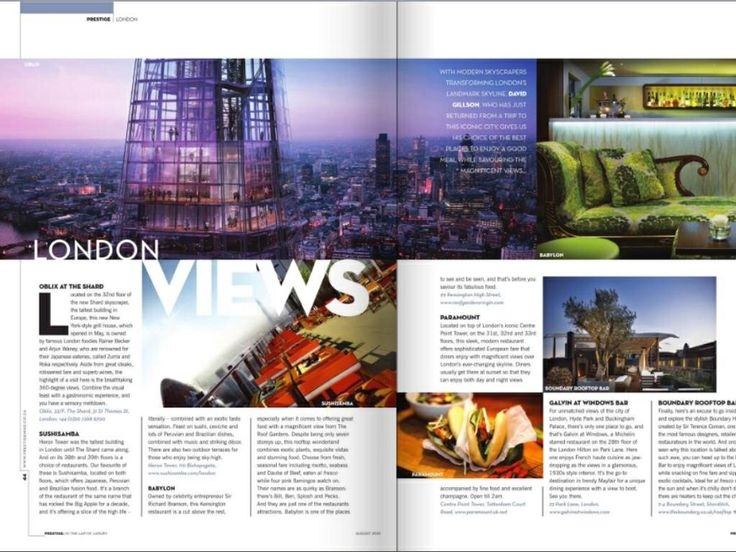Restaurant's with views my London guide for Prestige.