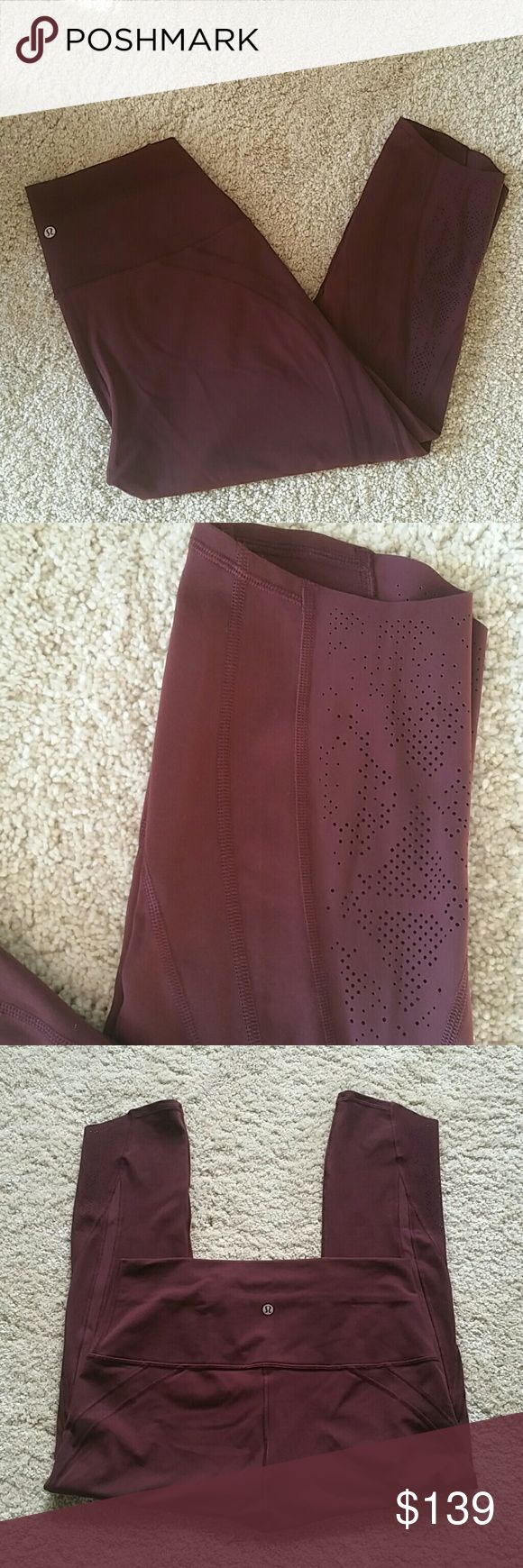 Lululemon crop bodeaux leggins size 12 Like new lululemon athletica Pants Leggings