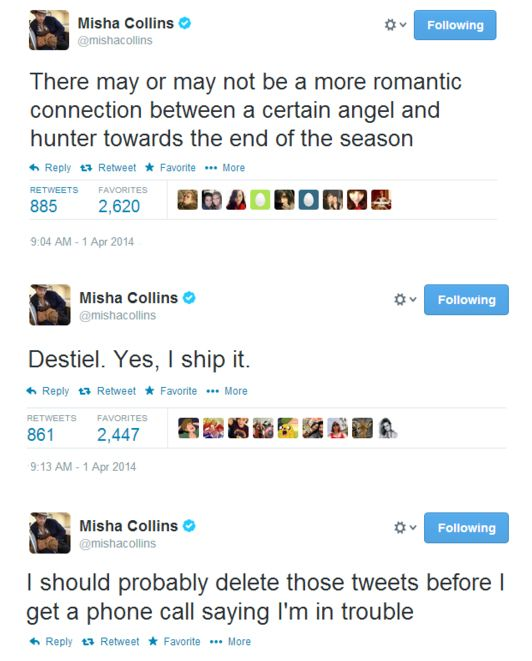 Meanwhile Misha... <<WHY HAVE I NOT SEEN THESE?!?<<<Look at the date, idiot <<<Jerk<<<Bitch<<<ASSBUTT